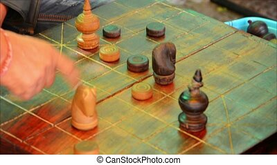 Locals playing Cambodian Chess Ouk-Khmer - Video 1080p -...