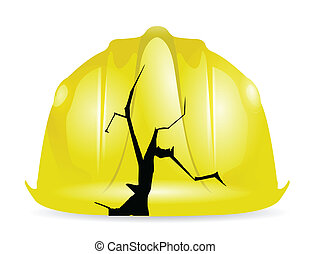 roto, amarillo, construcción, casco