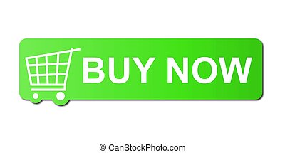 Buy Now Green - Buy now button with a shopping cart on white...