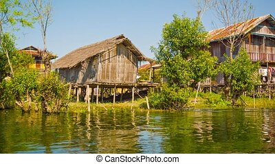 The village is built on the water. Houses on stilts - Video...