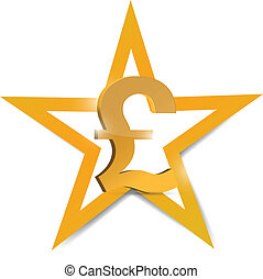 gold pound symbol illustration design over a white...