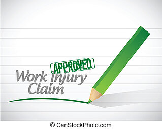 work injury claim approved illustration design over a white...