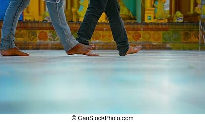 Bare feet of visitors Buddhist temple Burma, Yangon - Video...