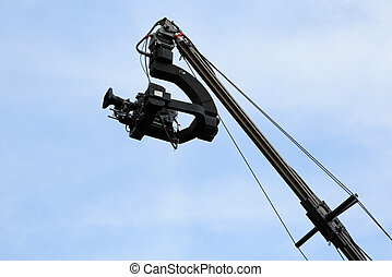 tv camera on a crane - Professional TV camera on a crane...