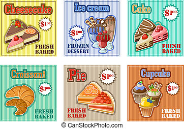 Set of baking menu card vector illustration