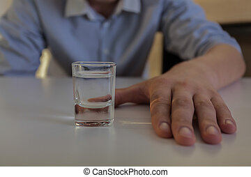 Struggle with vodka addiction - Horizontal view of struggle...