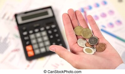 Account cents in hand - hand pour down coins into hands of...
