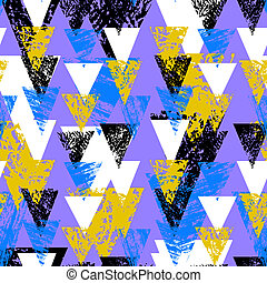 Hand painted bold pattern with triangles - Grunge hand...