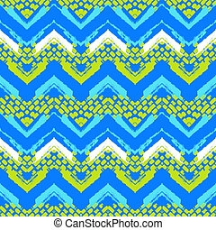 Chevron hand painted vector seamless pattern - Striped hand...