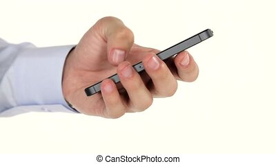 Man hands using smartphone - Hand holding and note on Black...