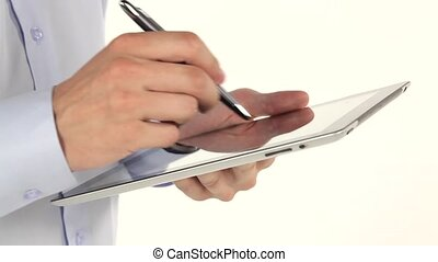 Hand to use a tablet and stylus on white background