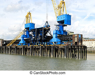 dockside cranes - Dockside ranes at a processing plant...