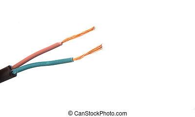 Exposed Electrical Wire - Exposed electrical wire over white...