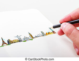 hand drawning travel concept - hand drawning travel...