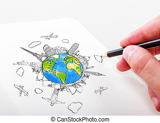 hand drawning travel landmarks in a notepad