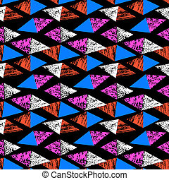 Grunge hand painted pattern with triangles - Grunge hand...