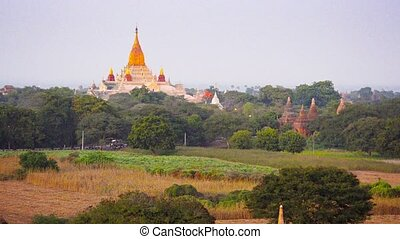 View to the Ananda Temple, located in Bagan, Myanmar - Video...