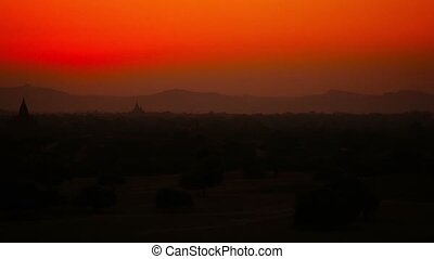 Panorama of Bagan in the early hours of the night after sunset. Burma
