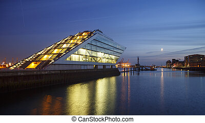 Hamburg Dockland at Night - Landmark office building...