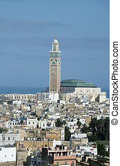 hassan II mosque cityscape view casablanca morocco - Hassan...
