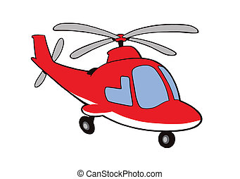 Vector-Helicopter - Cartoony red helicopter, vector image