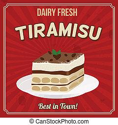 Tiramisu retro poster - Tiramisu poster in vintage style,...