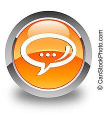 Chat icon glossy orange round button
