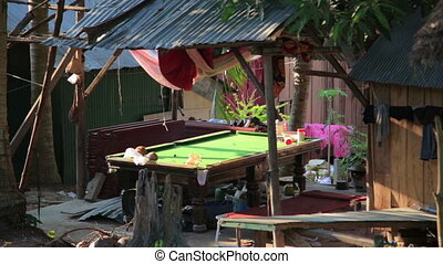 Unusual Billard table on cambodian slums