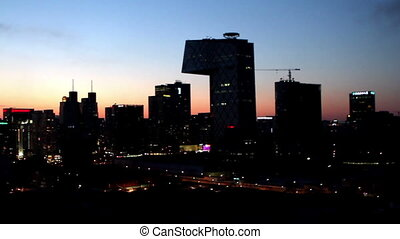 The panorama view of Guomao CBD at night, Beijing, China
