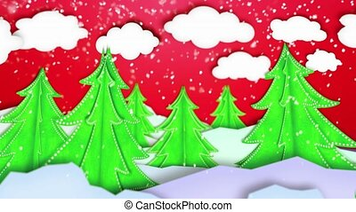 Winter Landscape Paper Scene Loop Animation Red