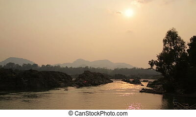 Lao cambodia border mekong river, around 4000 islands, laos...