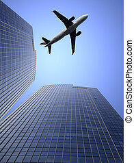 airplane and the modern building - the airplene voyageing...