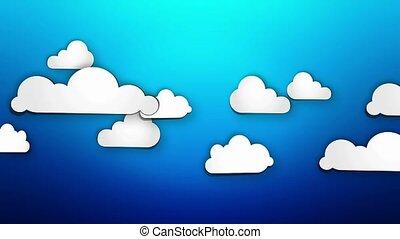 Cartoon Paper Clouds on blue loop
