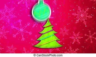 Red Pink Merry Christmas Art Paper