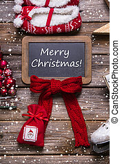 Merry christmas greeting card in classic style: red, white,...