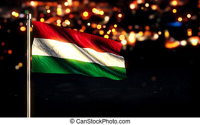 Hungary National Flag City Light Night Bokeh Background 3D