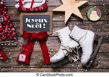 "Merry Christmas in french text ""Joyeux Noel"" - country style..."