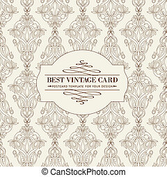 Vintage card - Vintage card of damask pattern Vector...