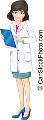 A female doctor - Illustration of a female doctor on a white...