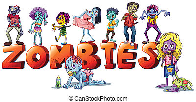 Different faces of zombies - Illustration of the different...