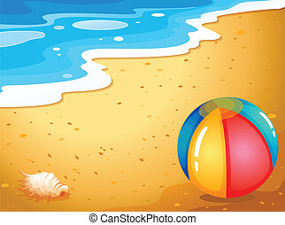 A ball at the beach - Illustration of a ball at the beach
