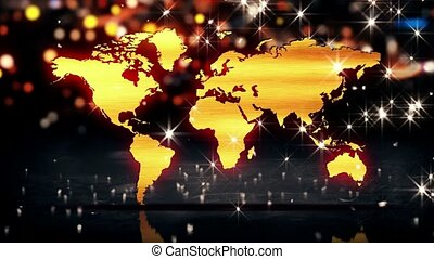 World Map Gold City Light Shine