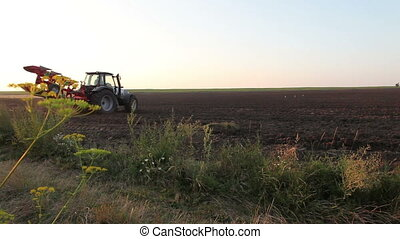 Tractor plowing the black earth plow field at sunset...