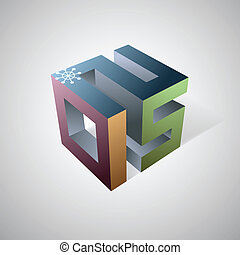 2015 emblem for calendars - Creative 3D design element for...