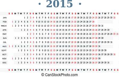 Horizontal calendar for year 2015 - Horizontal vector...