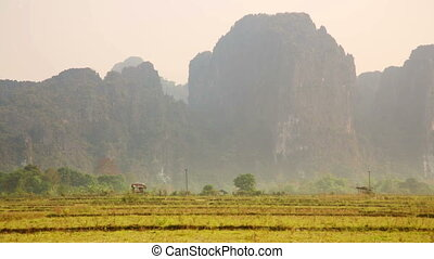 Backpacker heaven, Vang Vieng with limestone mountains, Laos
