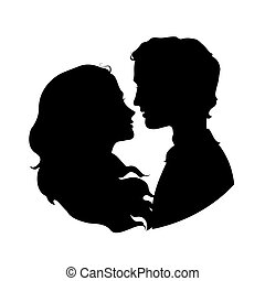 Silhouettes of loving couple.
