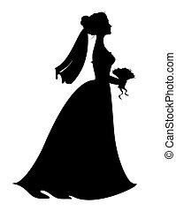 Silhouette of bride with bridal bouquet.