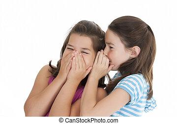 Caucasian Kids - Two Caucasian girls telling secrets on...