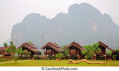 Morning at limestone mountains of Vang Vieng village, Laos